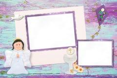 第一个圣餐两照片框架邀请 免版税库存图片