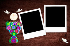 第一个圣餐两照片框架 图库摄影