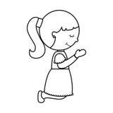 第一个圣餐女孩字符 库存例证