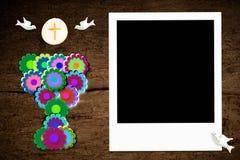 第一个圣餐照片框架 免版税库存照片
