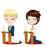 第一个圣餐祷告男孩 免版税库存图片