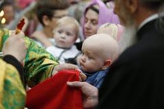 第一个圣餐 婴孩的圣餐 库存照片