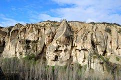 第一个基督徒的住宅岩石的,卡帕多细亚,中央土耳其 免版税图库摄影