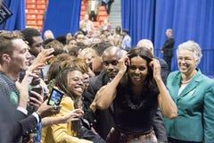 第一个夫人米歇尔・奥巴马发表一次演说 库存图片