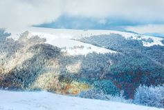第一个山雪冬天 免版税库存照片