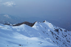 第一个山雪冬天 图库摄影