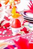 第一个红色鸡蛋,在focuse,东部的在塞尔维亚 库存图片