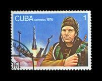 第一俄语,苏联宇航员Yury加加林,空间通信工具发射地点, 免版税图库摄影