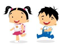 第一分等工-学校女孩和男孩 库存图片