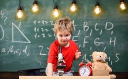 第一前对学习感兴趣,学会,教育 在显微镜附近哄骗男孩在教室,在背景的黑板 库存图片