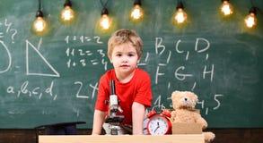 第一前对学习感兴趣,学会,教育 快乐的面孔的孩子在时钟和玩具熊附近 主要 库存照片
