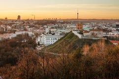 第一天冬天在维尔纽斯,立陶宛。 免版税图库摄影