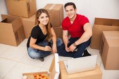 第一天在我们新的家 免版税库存图片