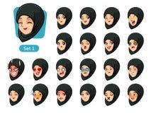 第一套黑人hijab动画片具体化的回教妇女 皇族释放例证