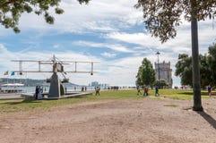 第一座南跨大西洋飞行纪念碑在里斯本 图库摄影