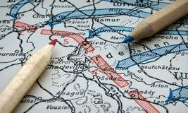 第一张世界大战地图 免版税库存图片