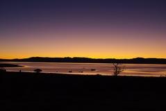第一早晨光,单音湖,加利福尼亚 免版税图库摄影