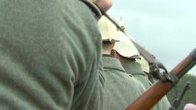 第一杆世界大战射击枪的德国士兵,再enactors