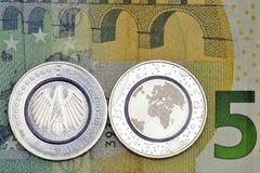 第一枚德国人五欧元硬币 库存图片