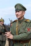 第一次世界大战在莫斯科, 2016年10月2的历史节日日 俄国军队的战士 库存图片