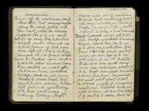 第一次世界大战战士的日志页 库存图片