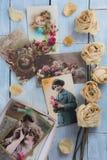 第一次世界大战明信片拼贴画和干玫瑰 免版税库存照片