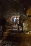 第一次世界大战的奥匈帝国士兵在洞穴的 免版税图库摄影