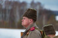 第一次世界大战, Borodino的时期战斗的军事历史重建,在2016年3月13日 免版税库存图片