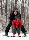 第一滑雪者次 免版税库存照片