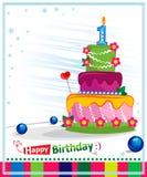 第一生日蛋糕。儿童明信片。 免版税库存图片