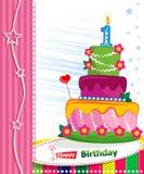 第一生日蛋糕。儿童明信片。 图库摄影