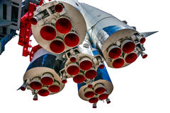 第一阶段和航天器沃斯托克1推进力喷管  库存图片