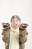 第一降雪的喜悦 库存照片