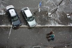 第一雪在城市 库存照片