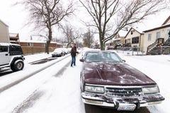 第一雪在芝加哥:2016年 免版税库存图片