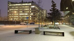 第一雪在2018年12月 免版税库存照片