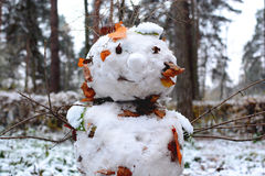 从第一雪的雪人 免版税库存图片