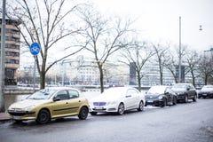 第一雪赫尔辛基/芬兰/旅行 免版税库存照片