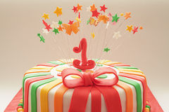 第一年生日蛋糕 免版税图库摄影