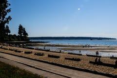 第三个海滩下午视图在史丹利公园,温哥华, BC,加拿大 免版税图库摄影