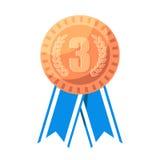 第三名得奖的传染媒介例证的铜牌 库存例证