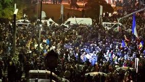 第三天在大学正方形的抗议反对腐败和罗马尼亚政府 股票录像
