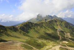 第三高峰Aigbi在高加索山脉。 库存图片