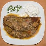 第二个盘用肉调味汁 背景 库存图片