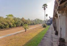 第二墙壁,吴哥窟, Siem Riep,柬埔寨看法  免版税库存图片