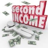第二收入金钱落的旁边包工挣更多现金 库存图片