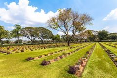第二次世界大战公墓在唐Rak北碧泰国 库存照片