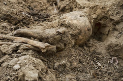 第二次世界大战的战士埋葬的挖掘  免版税库存照片