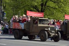 第二次世界大战的汽车在胜利天游行 免版税库存图片