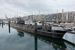第二次世界大战的潜水艇在南安普敦港口城市的海湾的 库存图片